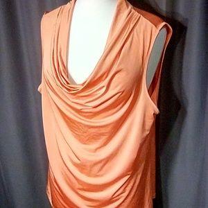 Diane Buchman size XL peach sleeveless drape neck
